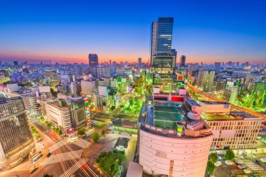 Shibuya, Tokyo, Japan city skyline over the famous scramble crosswalk at dusk.