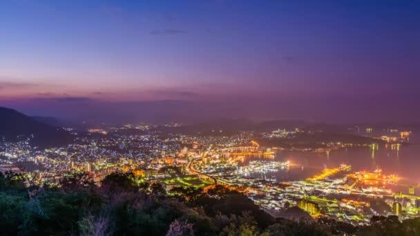 Sasebo, Nagasaki, Japan morning skyline time lapse