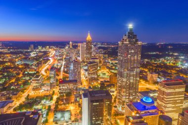 Atlanta, Georgia, USA downtown aerial skyline at twilight.