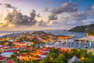 Gustavia, St. Barths town skyline in the Carribean at dusk.