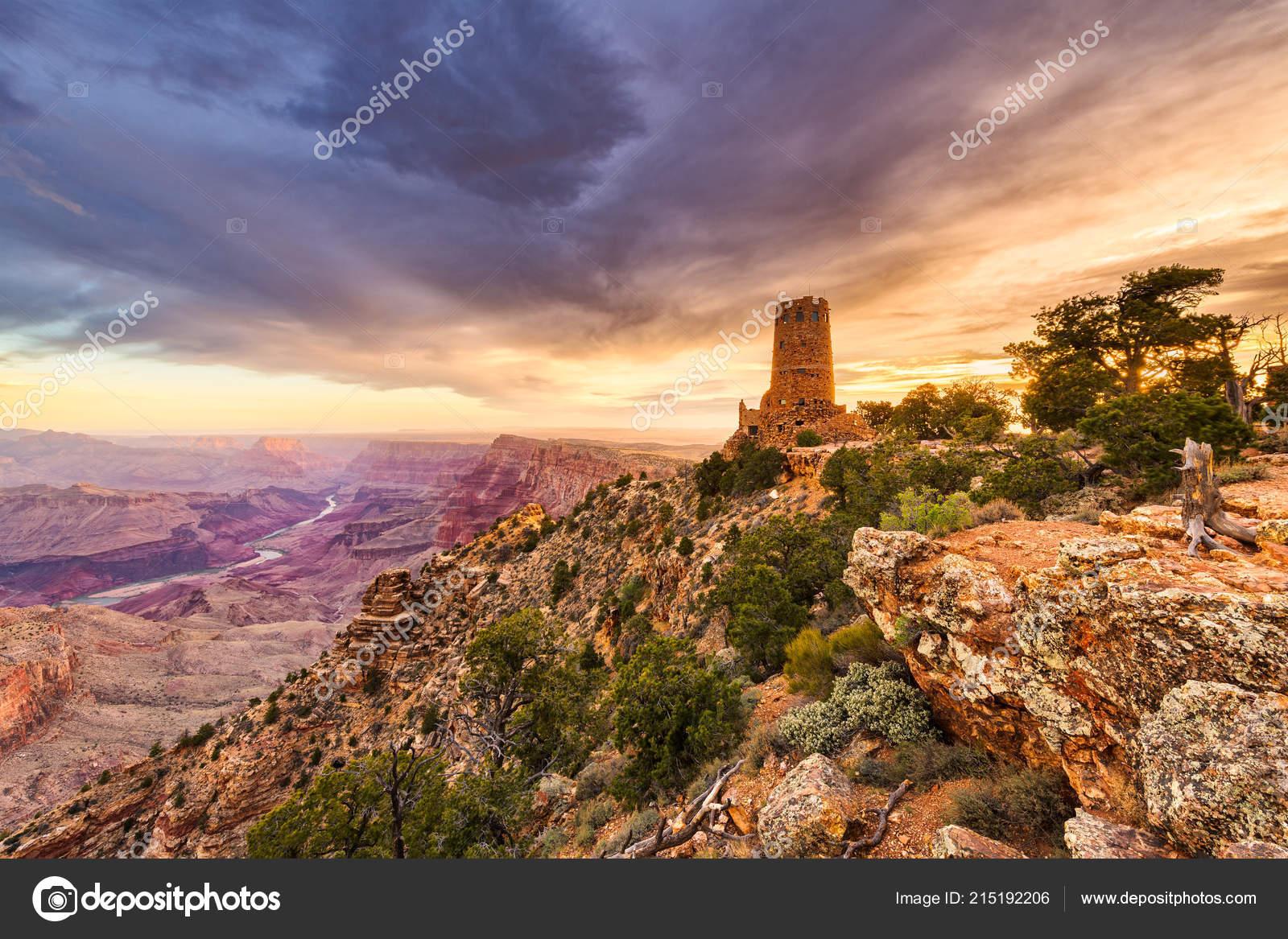 Desert View Watchtower Grand Canyon Arizona Usa Stockfoto
