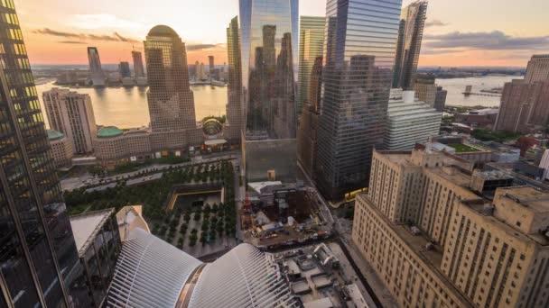 New York, New York Panorama v dolním Manhattanu od soumraku do noci