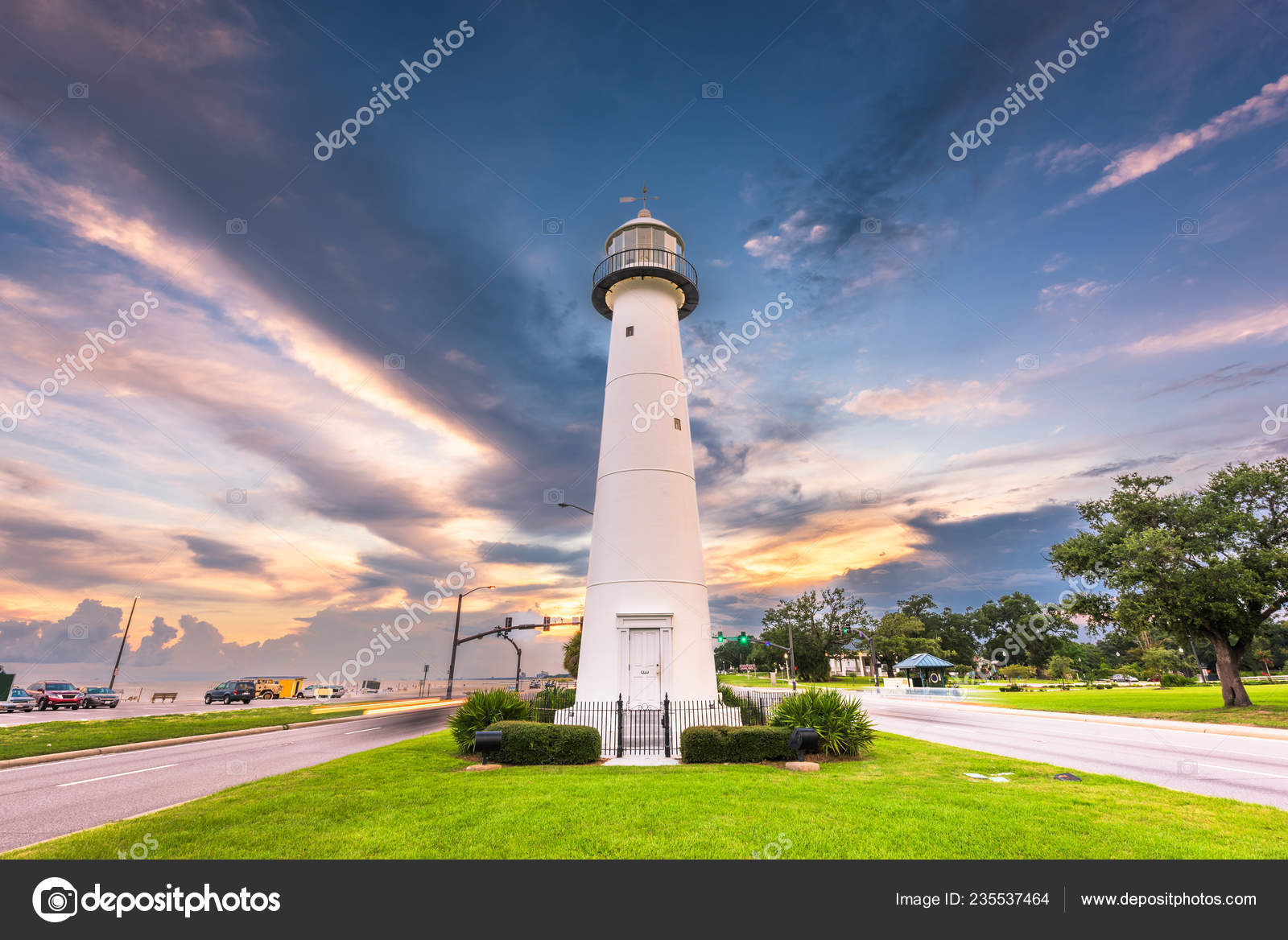 Biloxi Mississippi Usa Biloxi Lighthouse Dusk Stock Photo