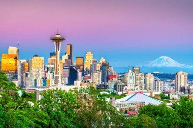 Seattle, Washington, USA downtown skyline at night