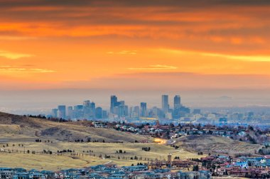 Denver, Colorado, USA downtown skyline viewed from Red Rocks