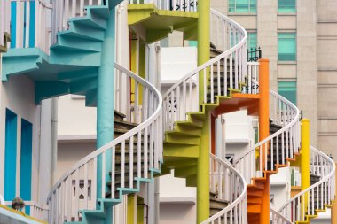 Singapore at  Bugis Village spiral staircases.