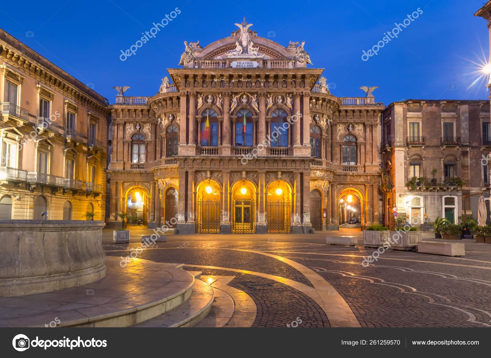 Обои опера, Катания, ночь, Театр Массимо Беллини, дома, сицилия. Города foto 11