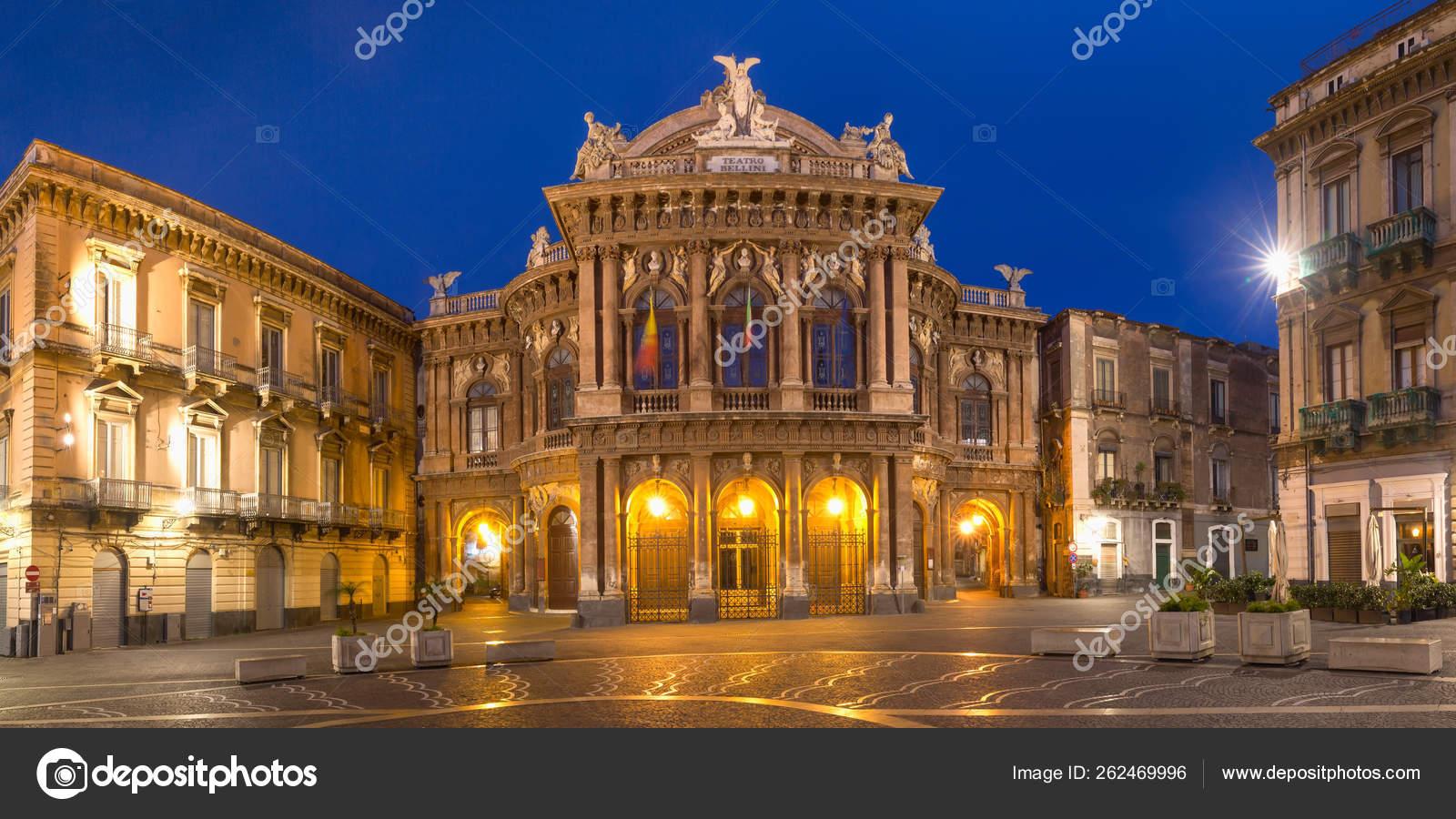 Обои опера, Катания, ночь, Театр Массимо Беллини, дома, сицилия. Города foto 10