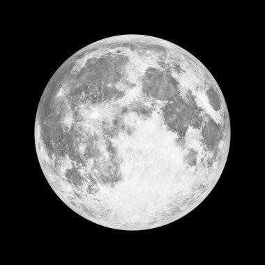 Full moon in space over black background. Elements of this image furnished by NASA