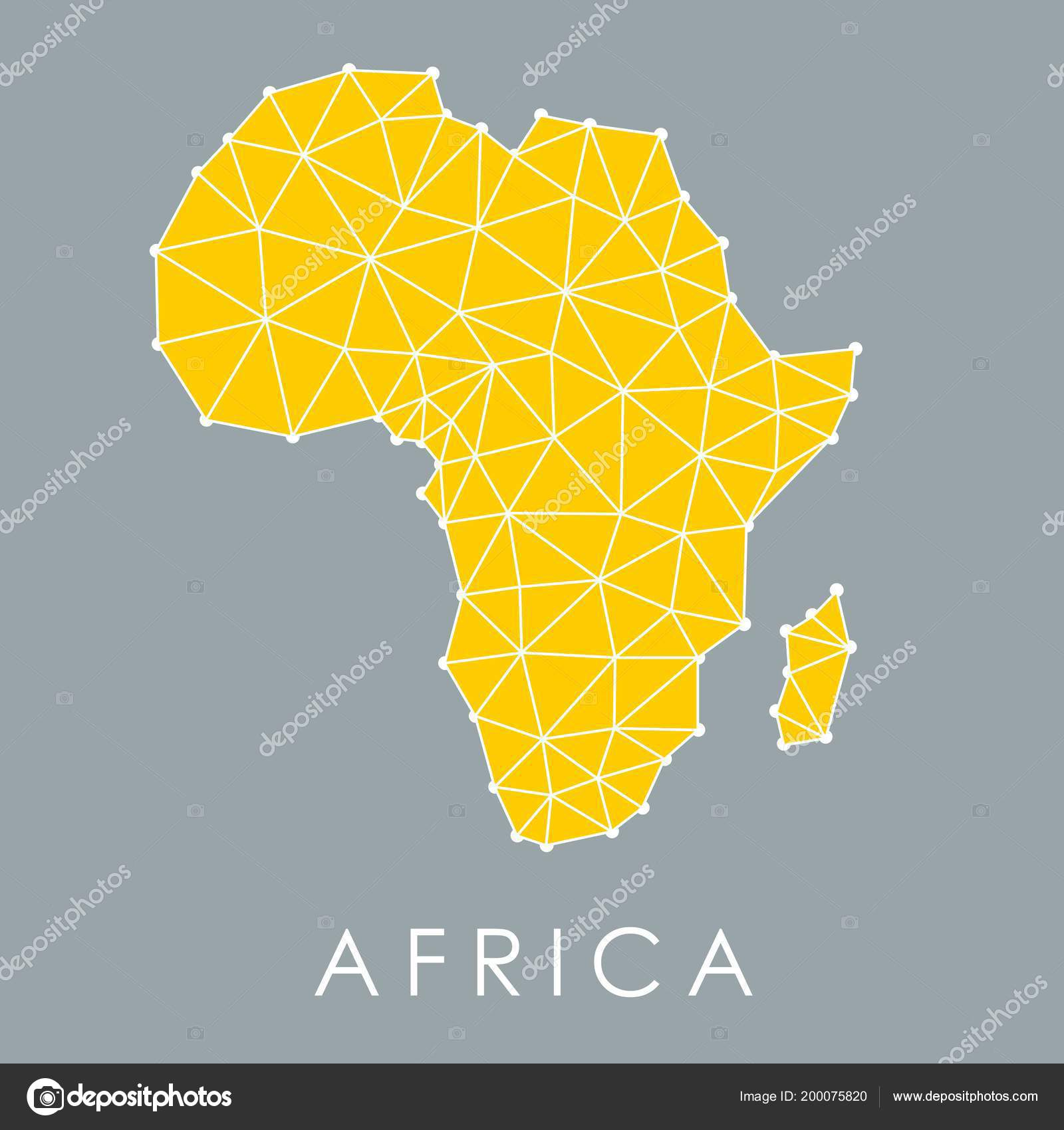 Africa Geometric Map Modern Style Low Poly Triangles Vector ...