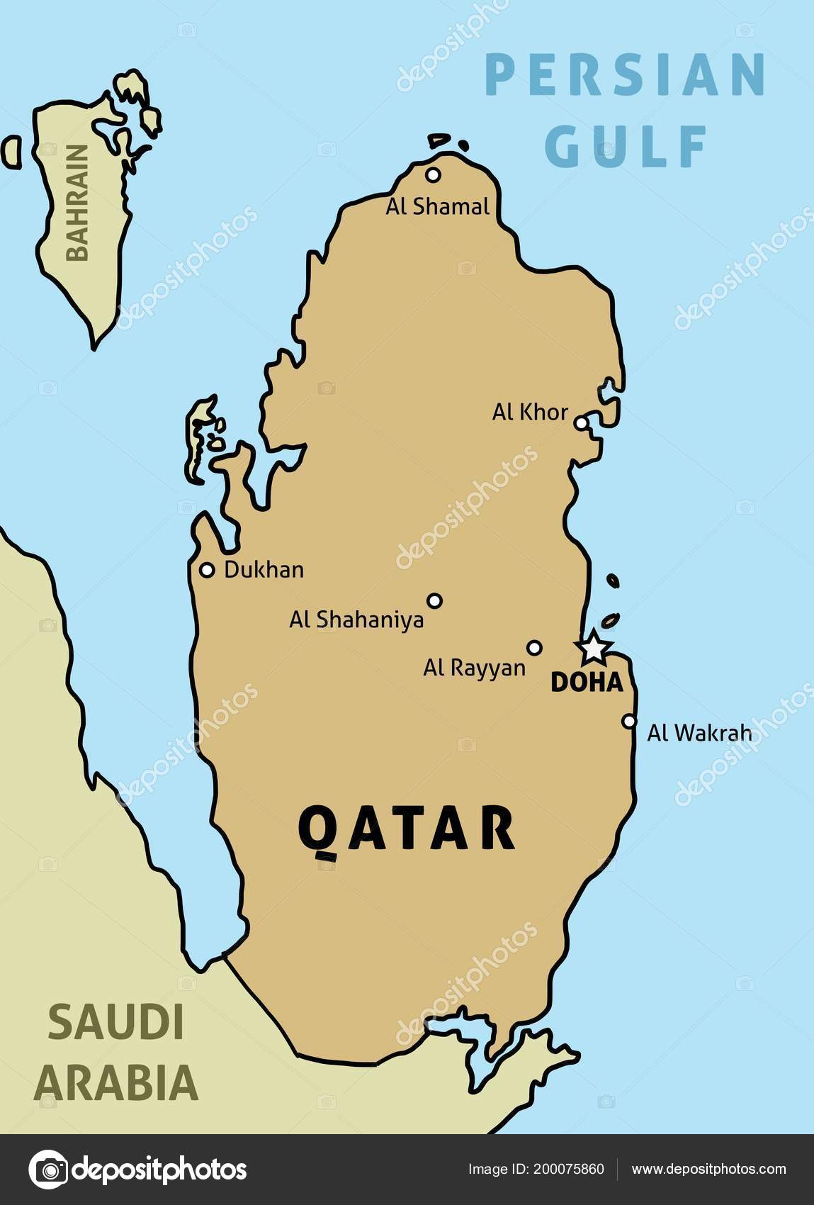 Qatar Map Outline Illustration Country Map Main Cities Stock