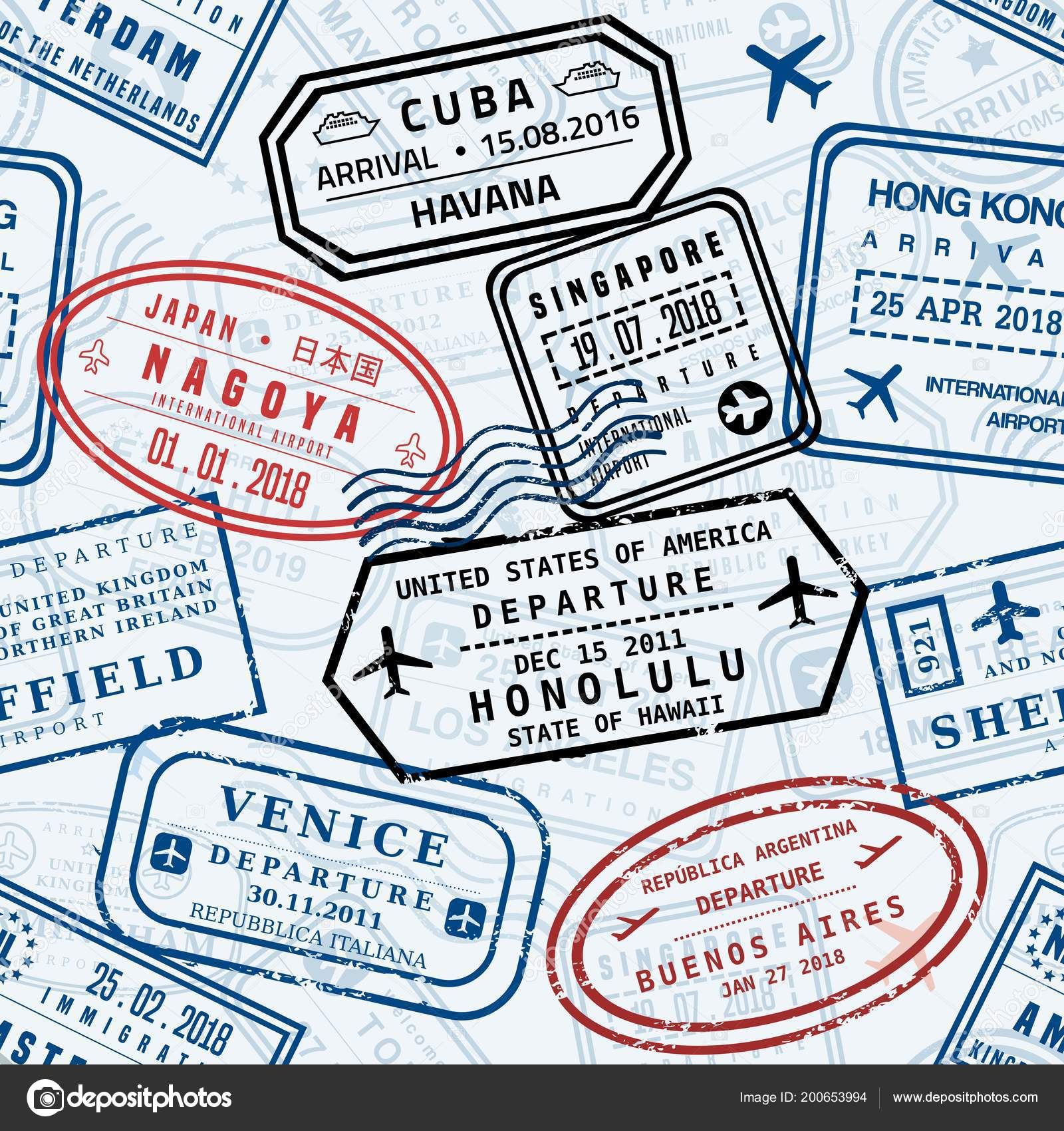 Passport Stamps Vector Background Travel Stamp Seamless Texture Fictitious Stock