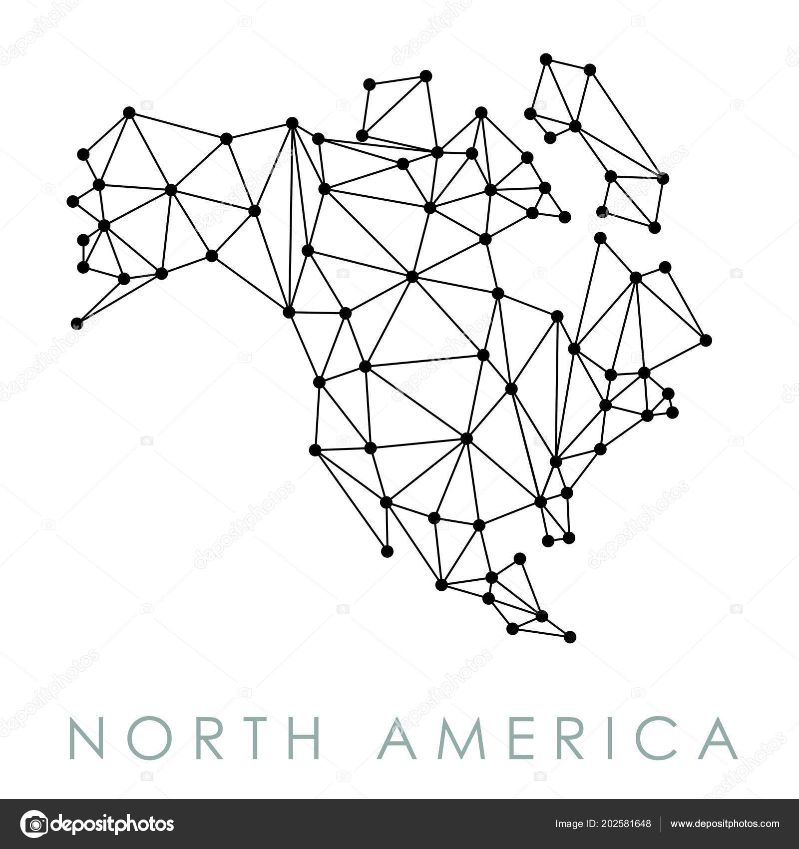 North America Simple Map Vector Low Poly Geometric Style