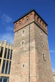Fotografie Chemnitz city in Germany (State of Saxony). Red Tower, part of former city walls. Medieval landmark.
