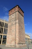 Fotografie Chemnitz city in Germany. Red Tower, part of former city walls. Medieval landmark.
