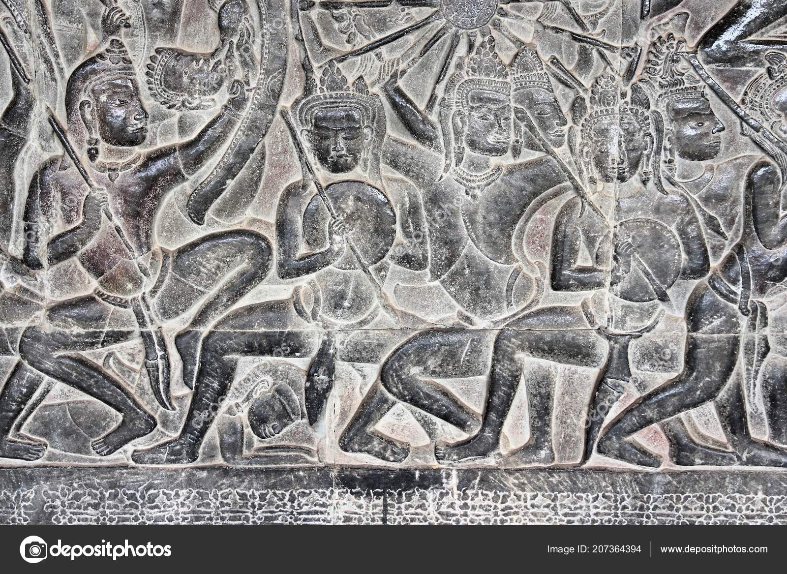 Angkor wat stone carving artworks khmer temple cambodia unesco
