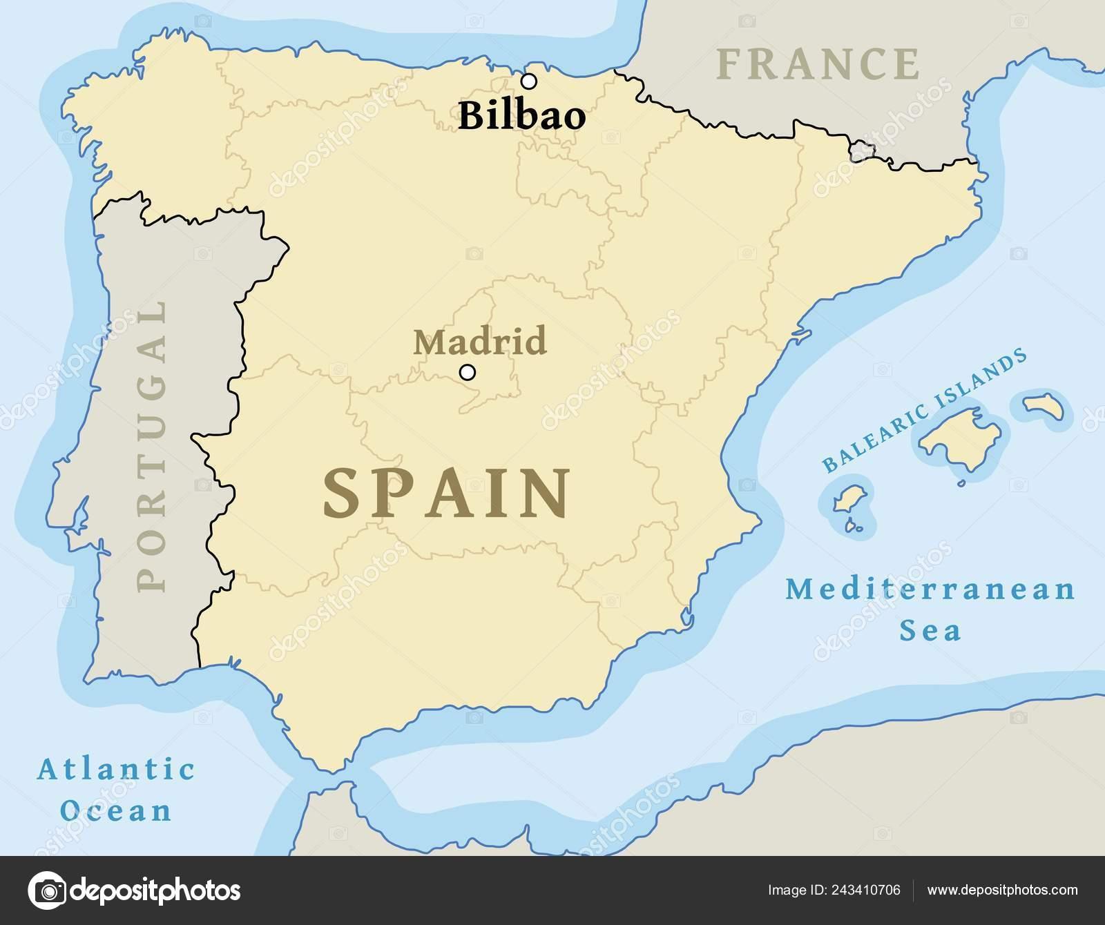 Mapa De Bilbao España.Ubicacion Mapa Bilbao Ciudad Mapa Espana Ilustracion