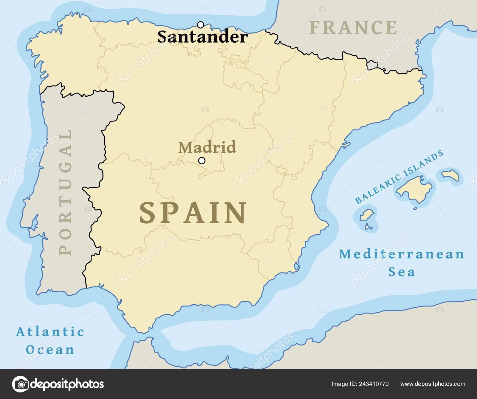 Mapa De Santander España.Ubicacion Mapa Santander Ciudad Mapa Espana Ilustracion