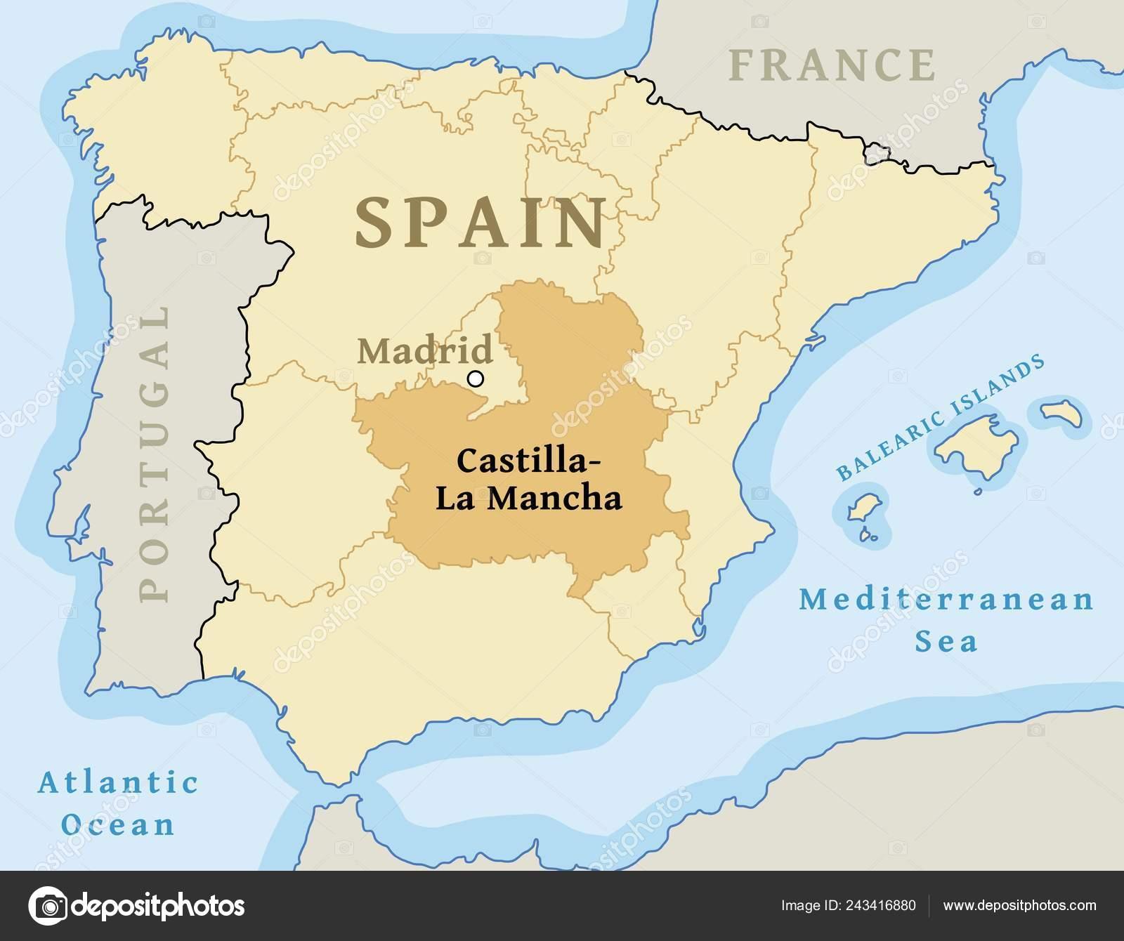 Map Of Spain La Mancha.Castilla Mancha Autonomous Community Location Map Spain Vector