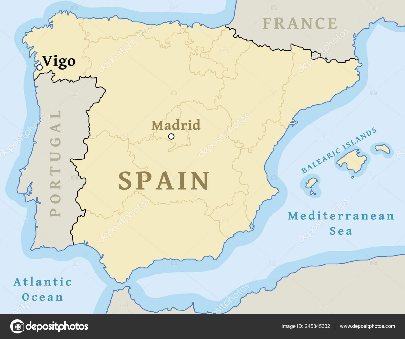 Map Of Spain Vigo.Vigo Map Location Locate City Map Spain Vector Illustration Stock