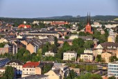 Fotografie Chemnitz, Deutschland (Bundesland Sachsen). Urbane Stadtbild Luftbild im warmen Abendlicht Sonnenberg District.