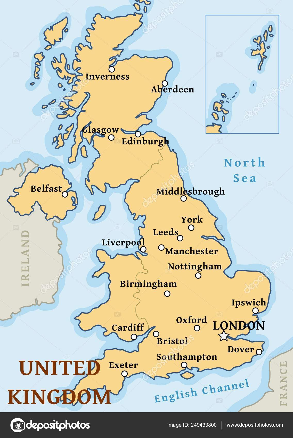 Map Of The Uk Cities.Uk Cities Map Stock Vector C Tupungato 249433800