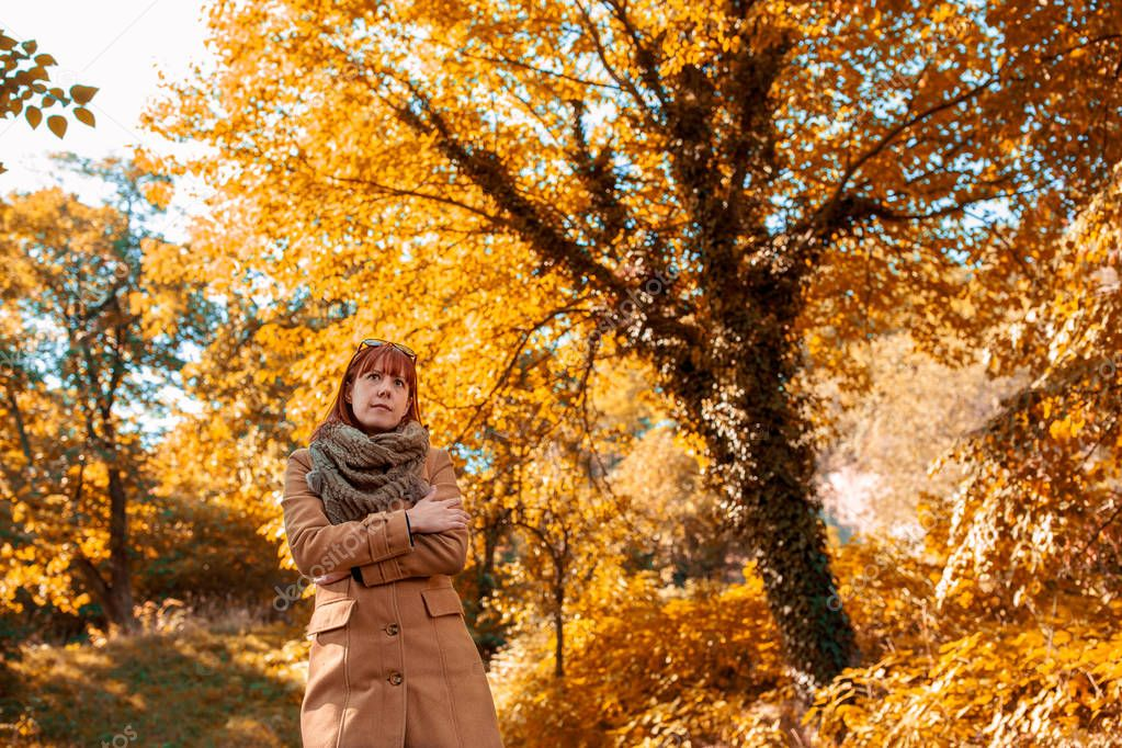 portrait of Young ginger girl at beautiful autumn forest