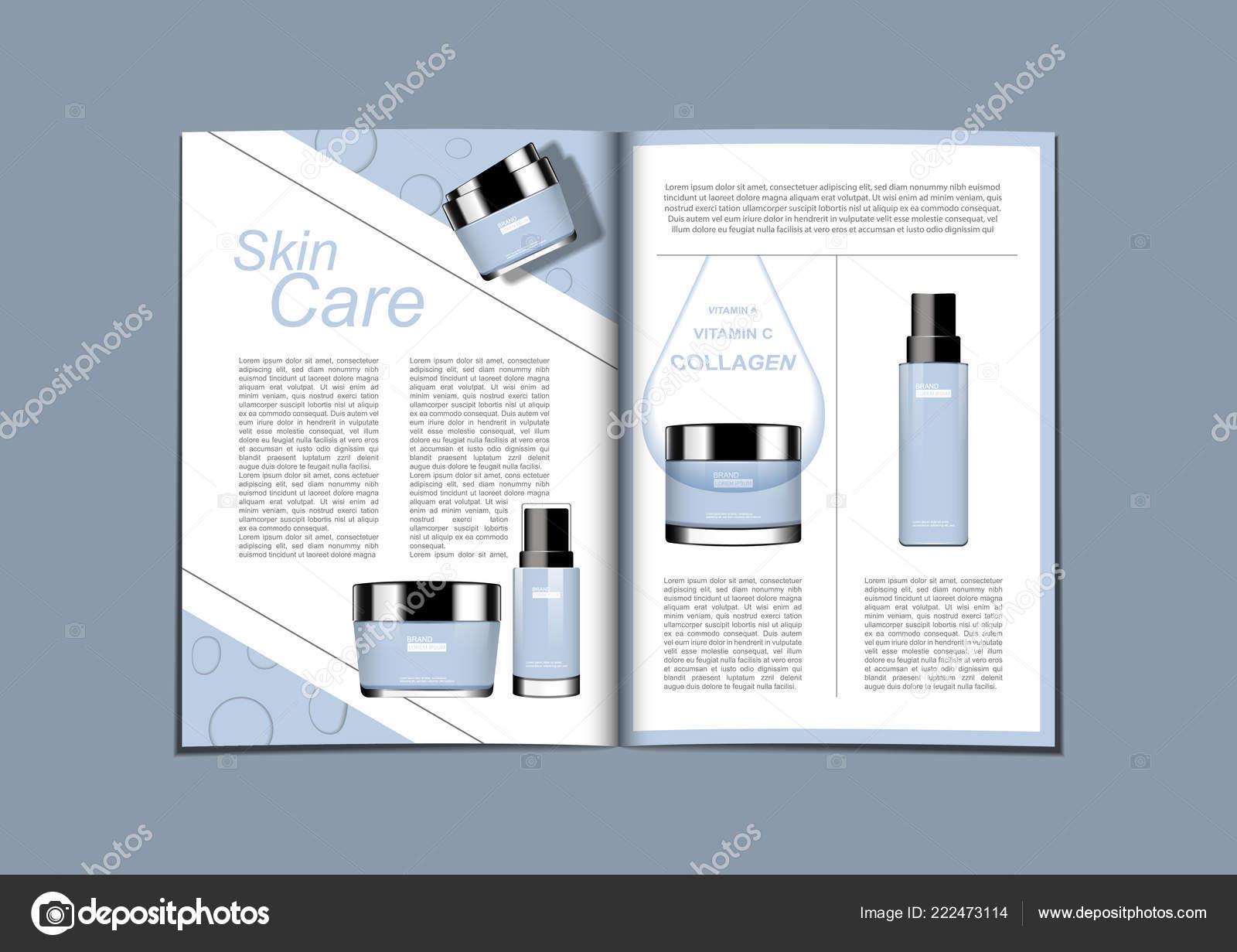 Magazine Brochure Skin Care Set Water Drop Template