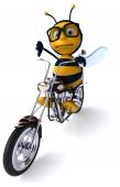 Zábava kreslené postavičky na motocykl - 3d ilustrace