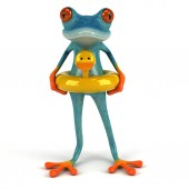 Fun frog character  - 3D Illustration