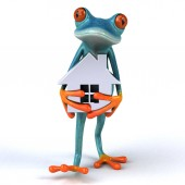 fun cartoon character with house    - 3D Illustration