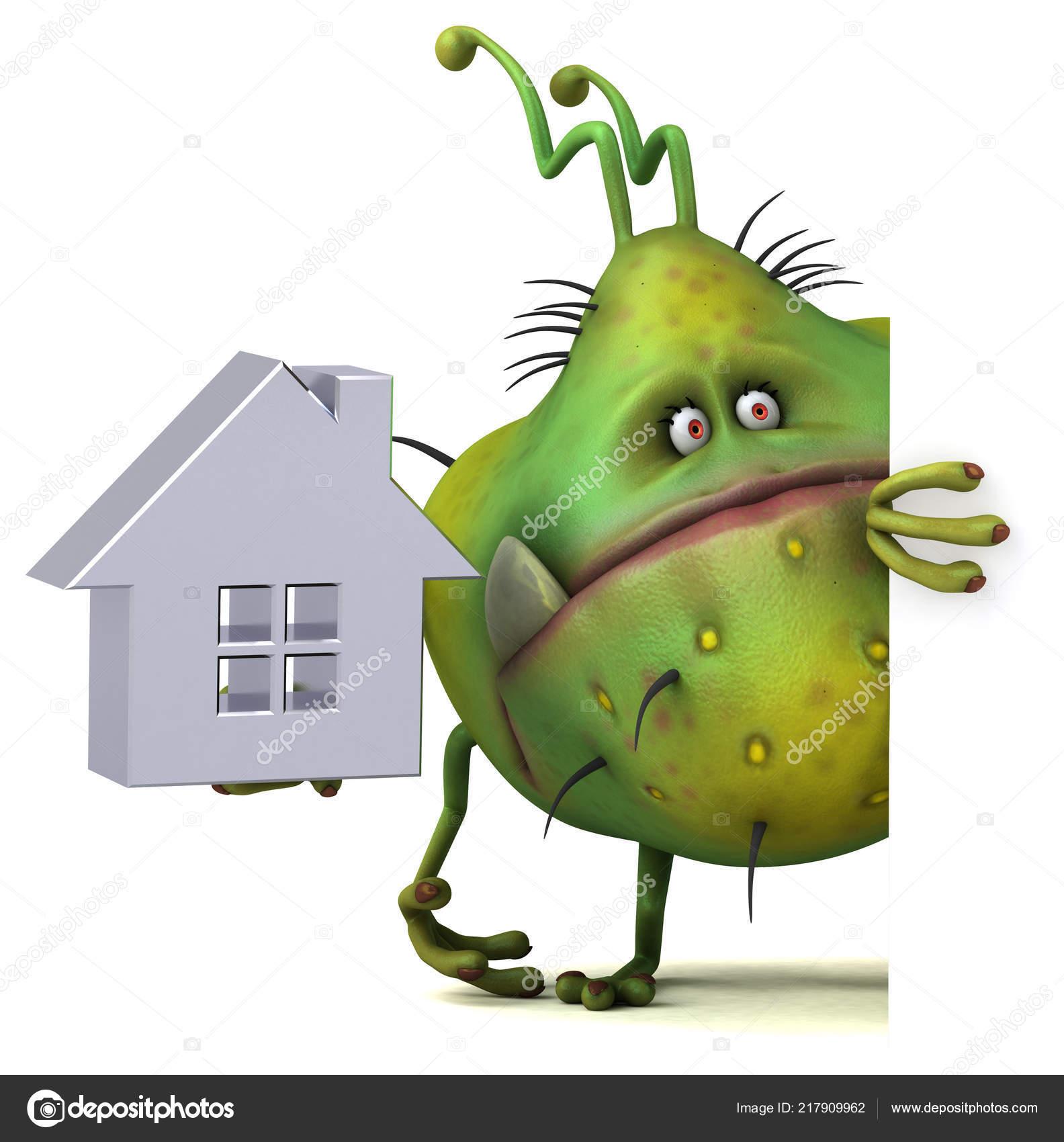 Fun Cartoon Character House Illustration — Stock Photo
