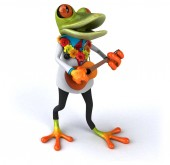 Fun cartoon character playing guitar - 3D Illustration