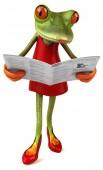 Fun frog reading - 3D Illustration