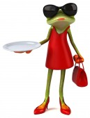 Frog cartoon character with plate  - 3D Illustration