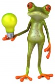 Funny cartoon character with  lamp  - 3D Illustration