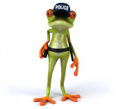 Fun 3D Cartoon frog police officer - 3D Illustration