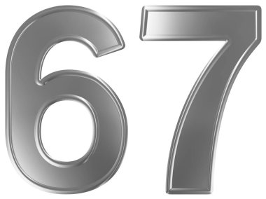 Numeral 67, sixty seven, isolated on white background, 3d render