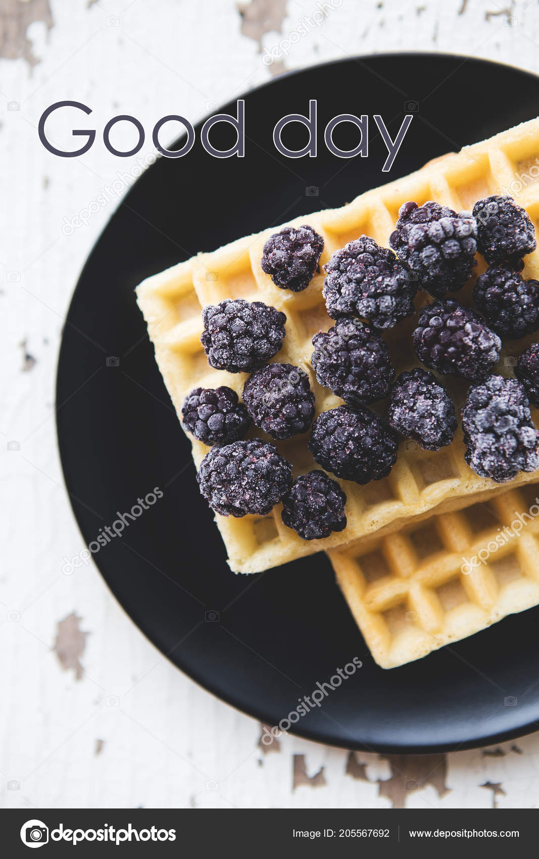 Delicious and beautiful Belgian waffles with blackberry, the