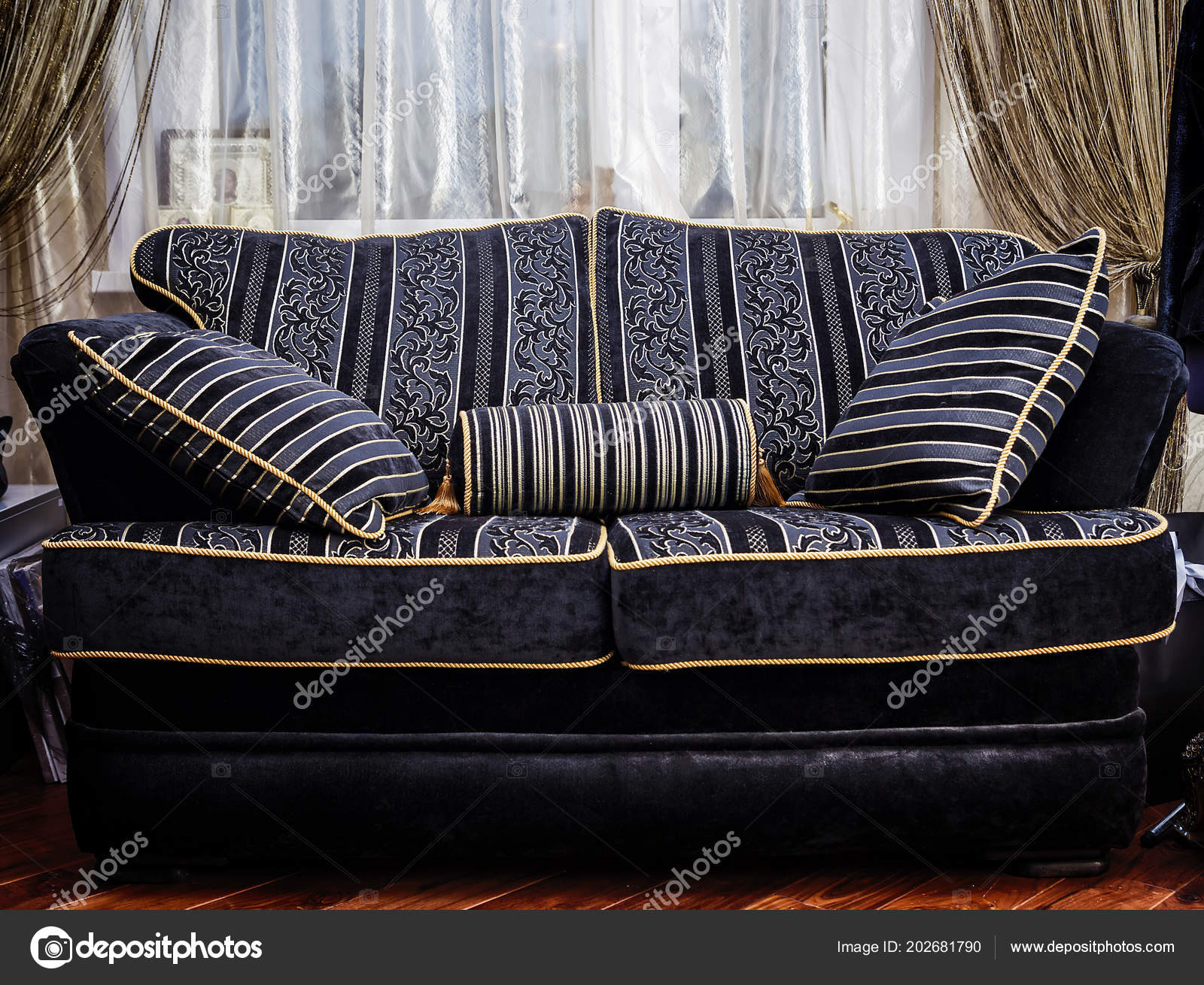 Surprising Fragment Black Gold Fabric Sofa Retro Style Stock Photo Pabps2019 Chair Design Images Pabps2019Com