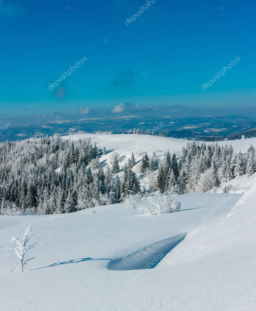 Winter mountain landscape with frosting trees and snowdrifts. High recognizable stitch image with great depth of field (zone of acceptable sharpness begins from crystalline snowflakes in front).