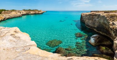 Picturesque Adriatic sea coast Archaeological Area of Roca Vecchia, Salento, Puglia, Italy