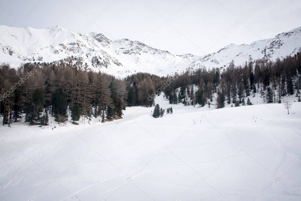 Mountain skiing - panoramic view  at the ski slopes  Aosta Valley,  Italy .