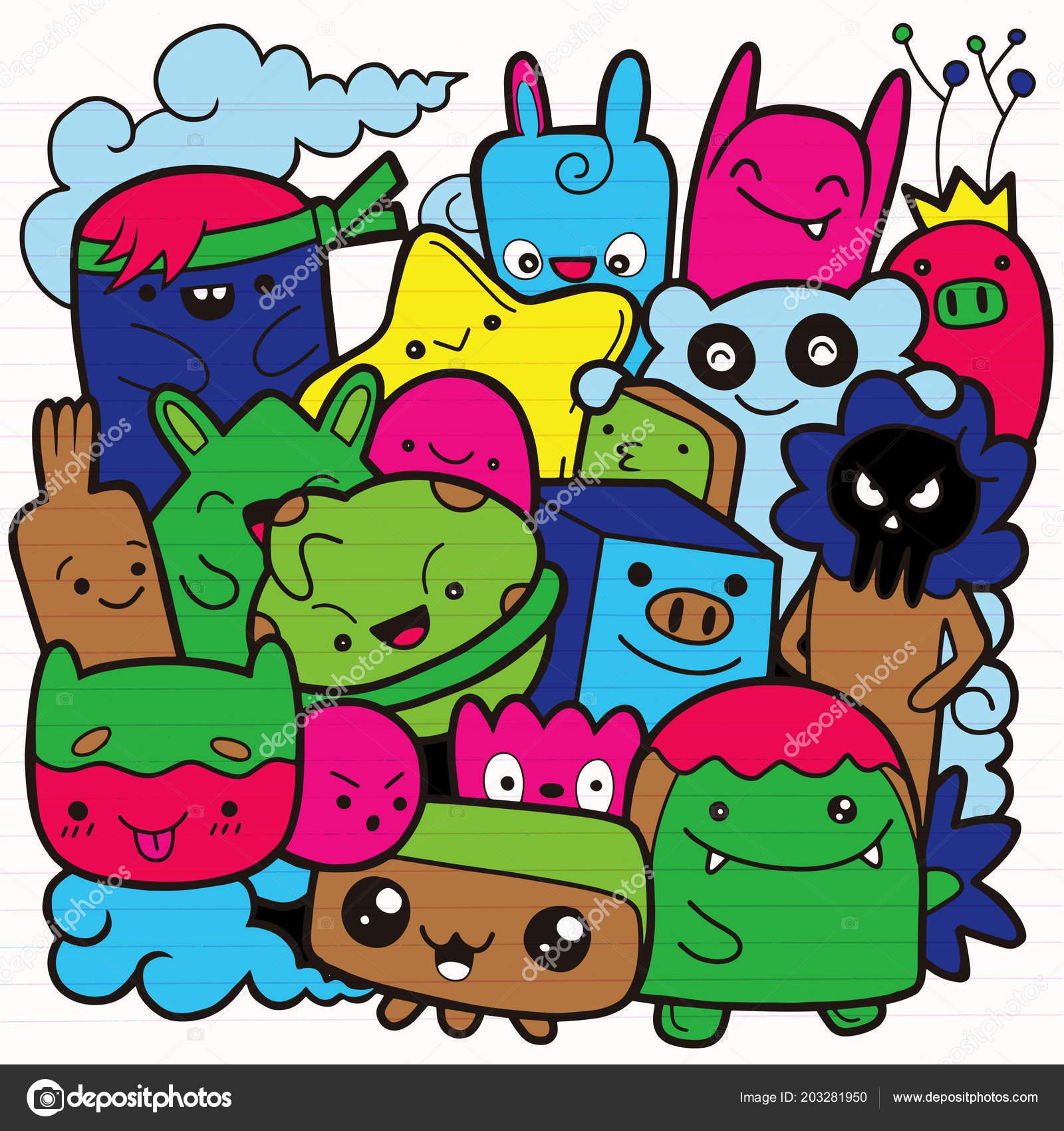 Monstruos Divertidos Patrón Lindo Monstruo Para Colorear Libro Fondo ...