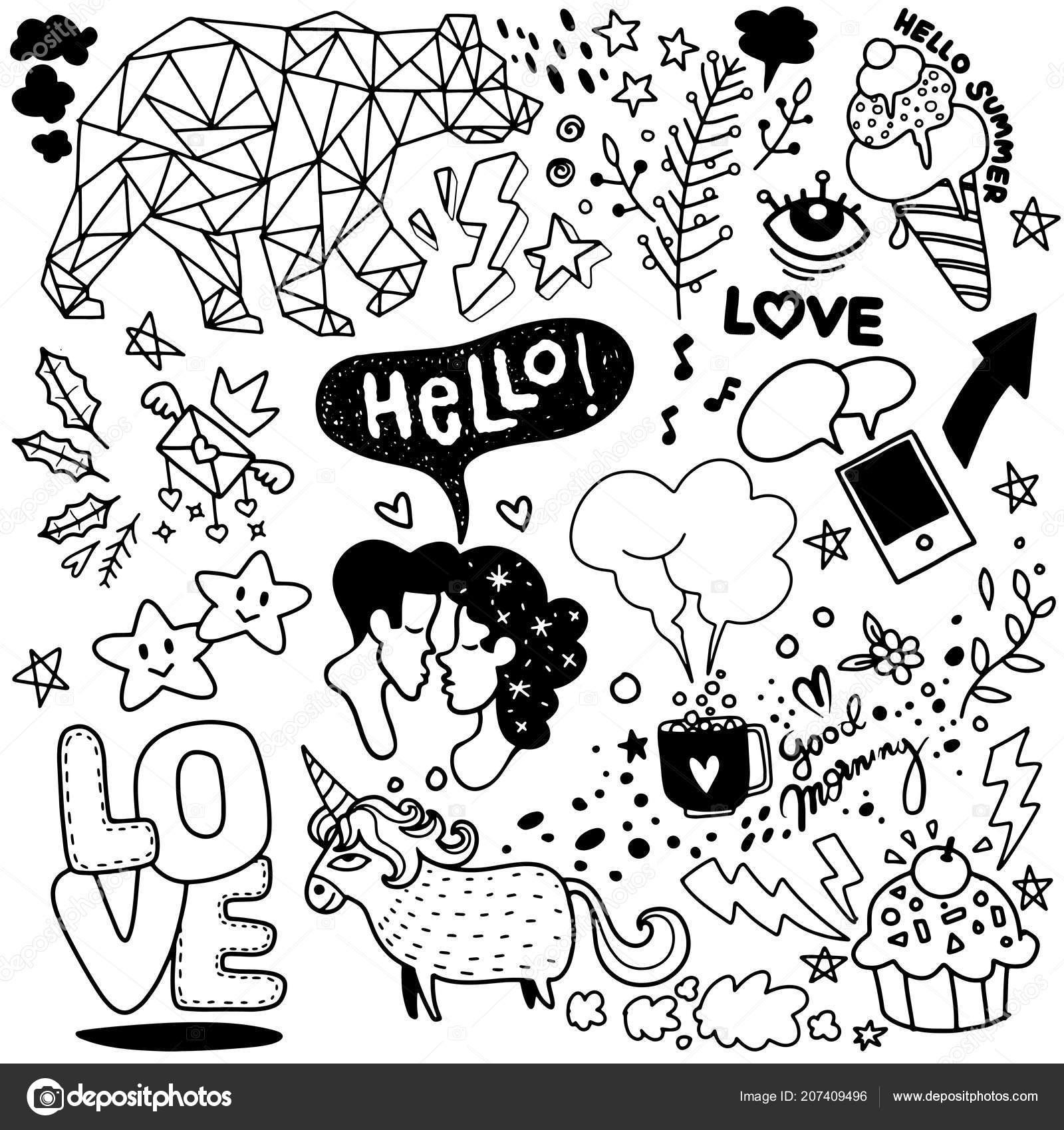 Vector Line Art Doodle Cartoon Set Objects Symbols Vol