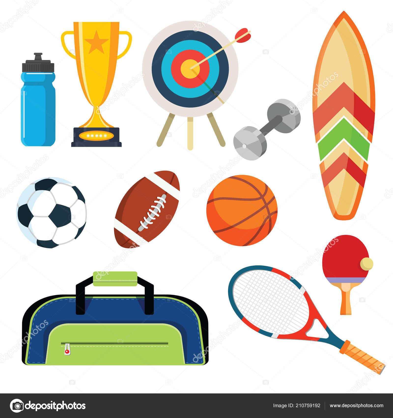 Плоский дизайн концепции спорта. Спортивное оборудование фон. Набор плоских  объектов, значки, отдых и досуг — Вектор от 9george c73c8a26cad