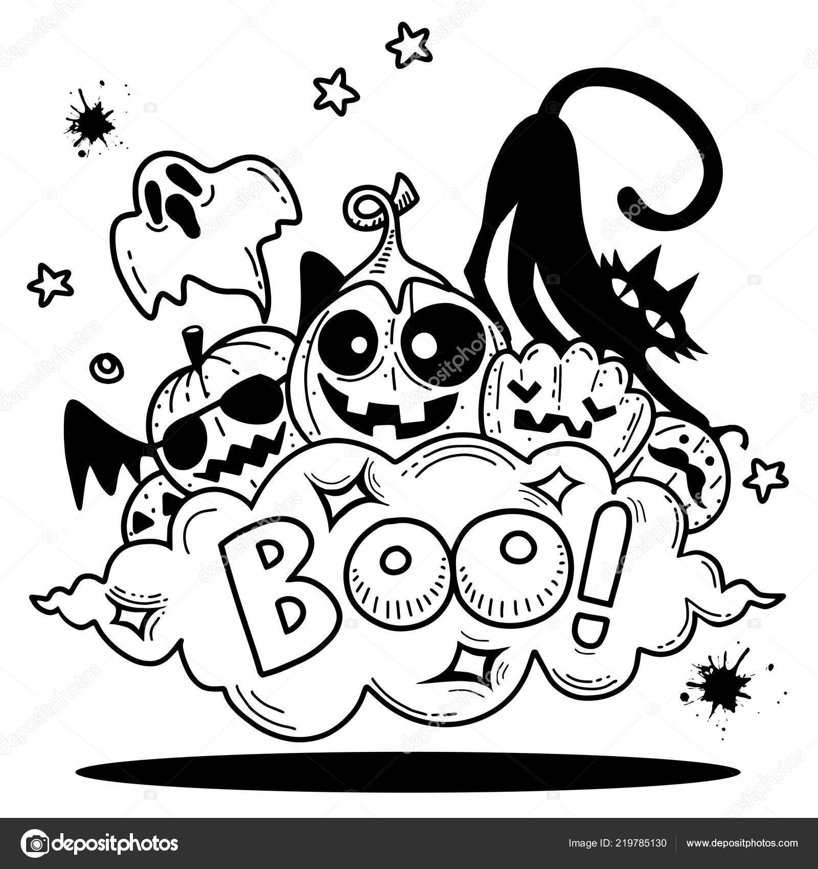 Boo Doodle Contour Contour Happy Halloween Fantôme Chauve