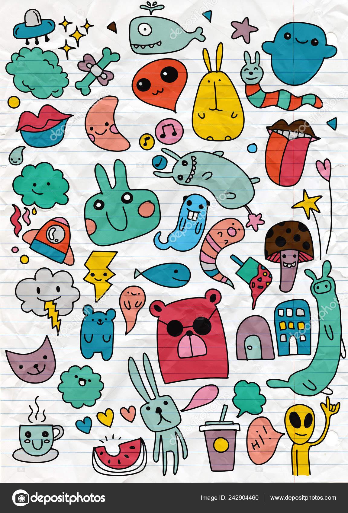 Rucne Kreslene Vektorove Ilustrace Doodle Kawaii Illustrator Line