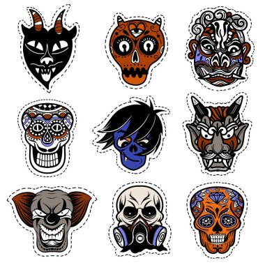 Vector illustration of a set of mask for halloween. icon