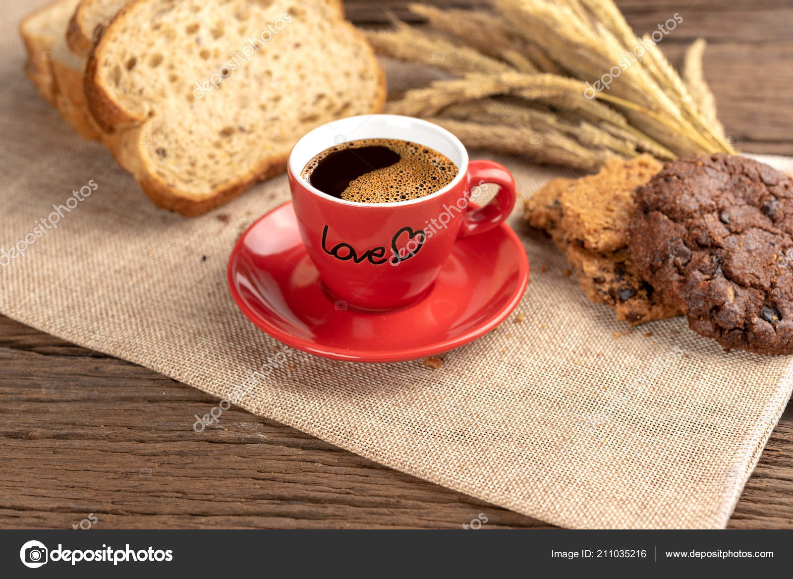 Hot Coffee Cup Breakfast Baked Wooden Background Cup Tasty Coffee Stock Photo C Somchaichoosiri 211035216